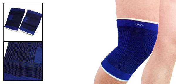 Pair Blue Striped Elastic Fabric Exercise Knee Support Protector