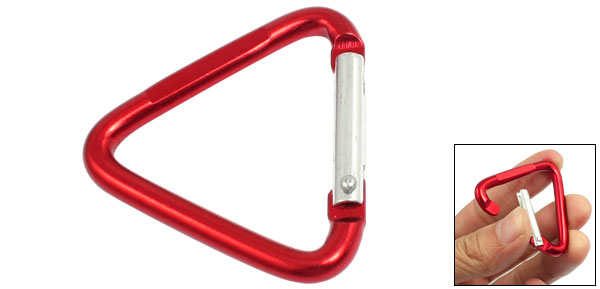 Red Aluminum Alloy Triangle Shaped Spring Load Gate Carabiner