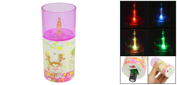 Cartoon Lovers Print Plastic Shell Cylinder Shaped Color Changing Light Lamp