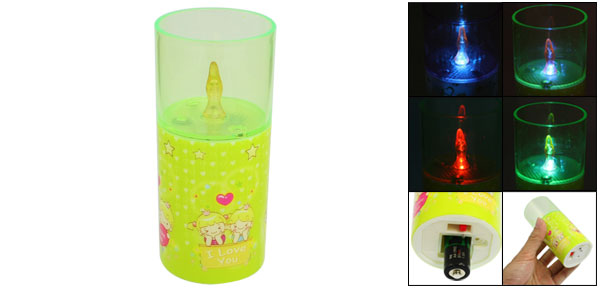 Green Plastic Housing Cylinder Shaped Color Changing Flash Light Lamp