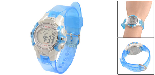 Round Dial Case 8 Holes Clear Blue Soft Plastic Band Sport Electronic Watch