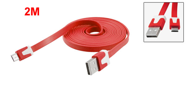 2M Sync Data Transfer Charger Flat USB Cable Red for Motorola V8