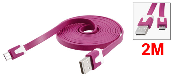 2M Flat Line Data Transfer Charger USB Cable Fuchsia for Motorola V8
