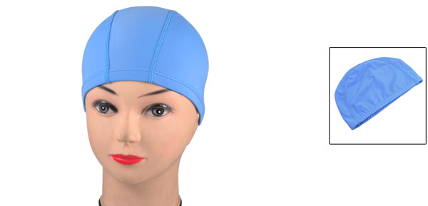 Light Blue Dome Shaped Elastic Band Polyester Soft Swimming Cap Hat for Adults