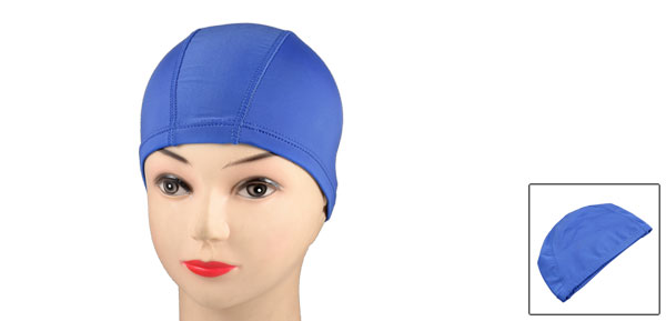 Blue Polyester Elastic Fiber Stretchy Swimming Cap Hat for Adults