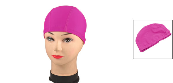 Fuchsia Polyester Elastic Fiber Stretchy Swimming Cap Hat for Adults