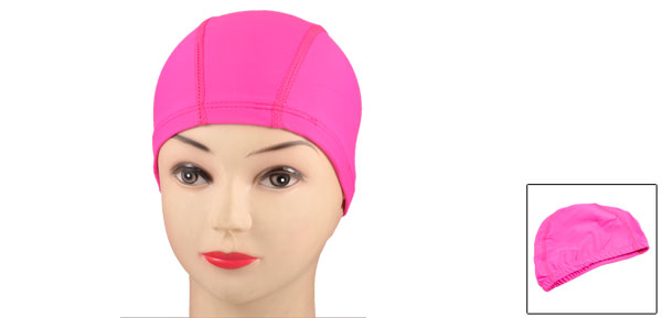 Soft Polyester Elastic Fiber Stretchy Hot Pink Swimming Cap Hat for Adults