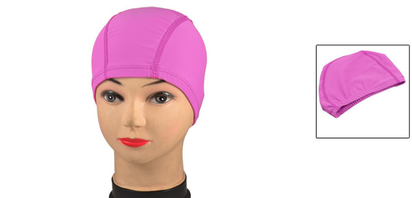 Pink Polyester Elastic Fiber Stretchy Swim Cap Hat for Adults