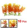 """10 Pcs 3.9"""" Height Orange Plastic Plant Decor for Fish Tank Aquar..."""