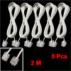 5 Pcs 2M Length 6P2C RJ11 Telephone Extension Fax Modem Cable Line White
