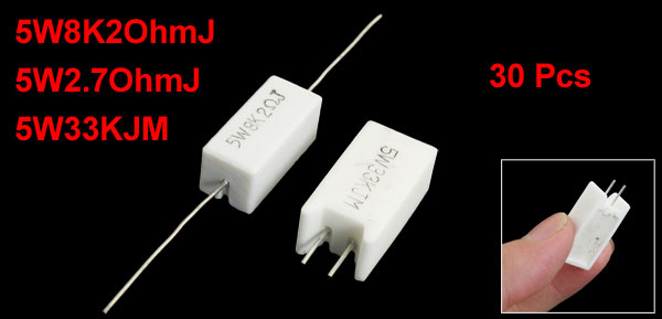 30 Pcs 5W White Rectangle Cement Resistor 8.2K Ohm 2.7Ohm 33K Ohm