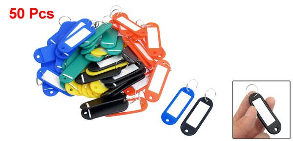Car ID Name Label Tag Split Ring Keyring Keychain Card Holder Colorful 50 Pcs