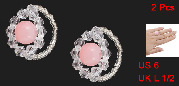 2 Pcs Plastic White Pink Beads Finger Ring US 6 for Woman Lady