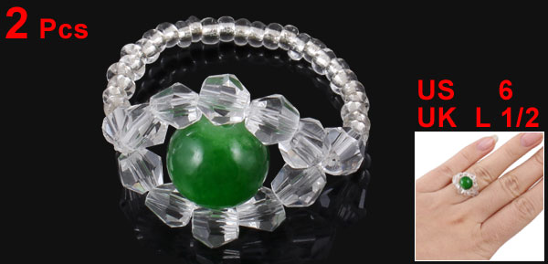 2 Pcs Lady Faceted Round Bead Finger Ring White Green US 6