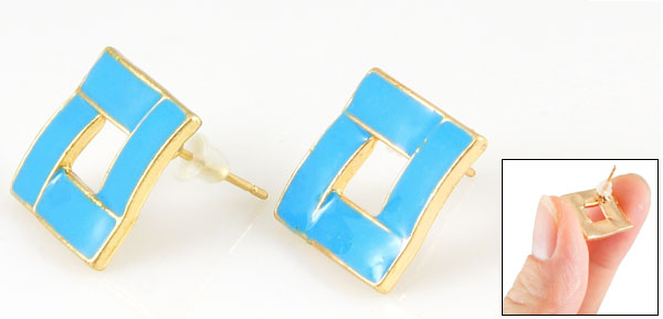 Pair Blue Hollow Square Accent Mini Stud Earrings for Lady Woman