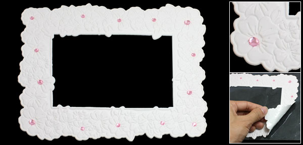 White Plastic Textured Flowers Pink Rhinestones Decor Photo Frame Sticker