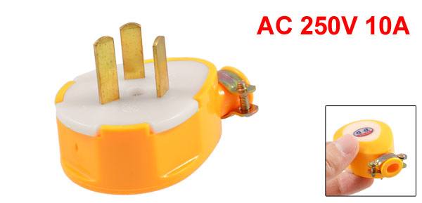 Yellow 3 Pole AU Replacement Power Cord Plug Head AC 250V 10A