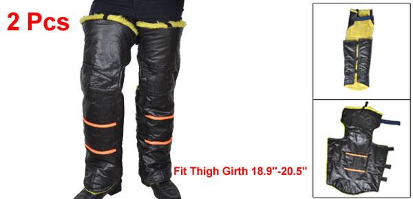 2 Pcs Black Faux Leather Plush Inner Hook Loop Closure Winter Motorcycle Knee Warmer