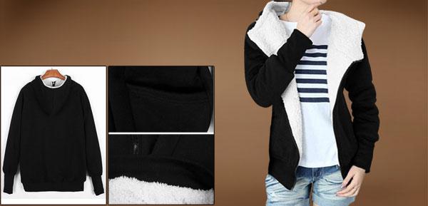 Ladies Black Convertible Collar Side Pockets Hooded Waist Length Hoodie S