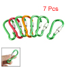 7 Pcs Green Red Orange Aluminum Alloy Lockable Carabiner Clip Hoo...