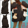 Ladies Coffee Color Side Pockets Zip Up Hooded Tunic Winter Coat ...