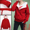 Ladies Red Raglan Sleeves Zip Up Side Pockets Hooded Casual Hoodi...
