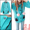 Ladies Teal Blue Button Down Leopard Prints Hooded Casual Hoodie ...