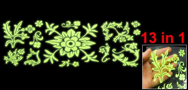 Wall Decor Flower Leaves Design Light Green Luminous Stickers 13 in 1