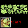 Wall Decor Tree Flower Design Light Green Luminous Stickers 16 in...