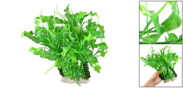 Ceramic Base Fish Tank Green Leaves Tree Plant 11