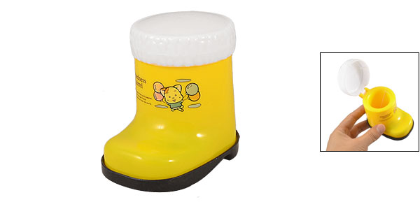 Cartoon Boot Style Toothpick Box Container Yellow Black