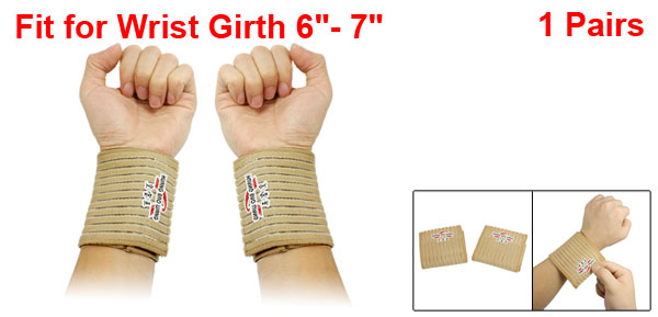 2 Pcs Detachable Closure Beige Striped Sports Wrist Support