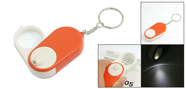 Orange White Shell Illuminanted LED Light 15X Magnifying Glass w Keychain