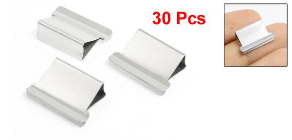 30 x Silver Tone Metal Reusable Fast Clam Clip Dispenser Refills