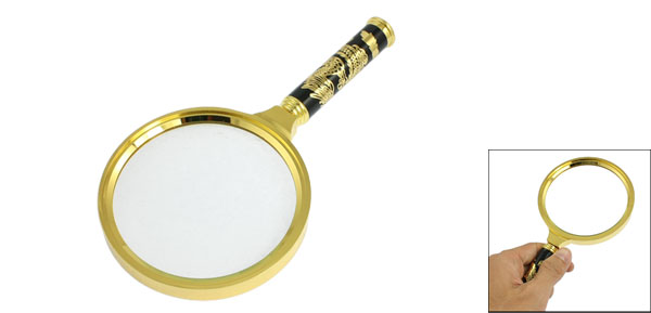 Detachable Handle 10X 90mm Magnifier Magnifying Glass Gold Tone Black
