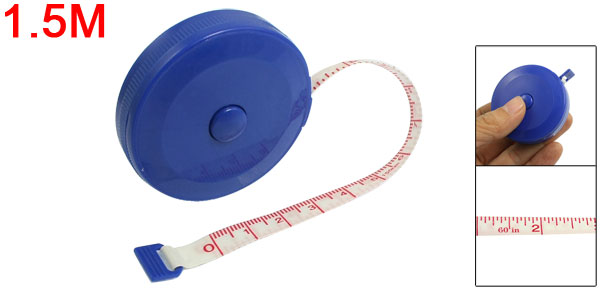Double Side 1.5M 60 Inches Retractable Fiber Glass Tape Measure Blue