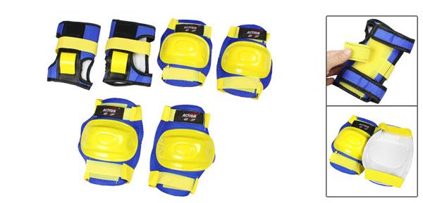 Adult Yellow Blue Detachable Closure Wrist Palm Elbow Knee Support Brace Set