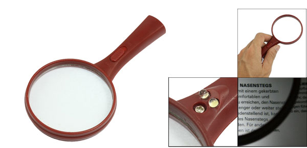 60mm Lens White Light Illuminated Magnifier 10X Magnifying Glass Burgundy