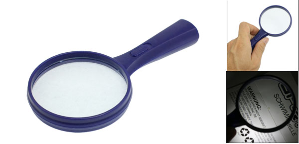 Blue Plastic Frame White 2 LED Light 60mm Dia 10X Multiple Magnifier