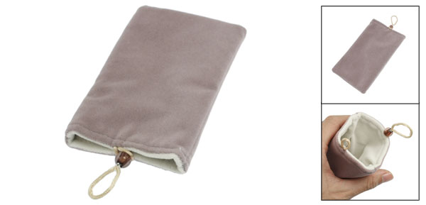 Gray Soft Velvet Exterior Lining Vertical Phone Pouch Bag