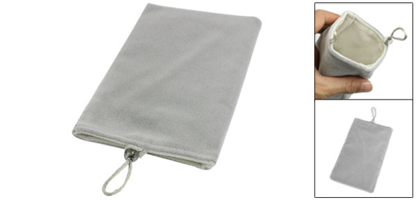 Light Gray Soft Velvet Vertical Pouch Bag for Mobile Phone MP3 MP4