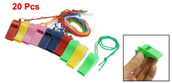Sports Game Plastic Referee Type Whistles Assorted Color 20pcs w Lanyard