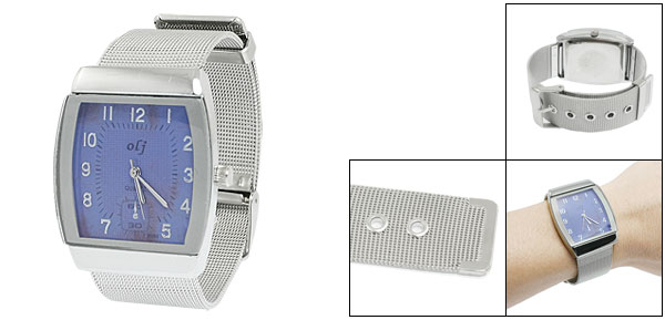 Single Prong Buckle Stainless Steel Band Blue Square Dial Watch for Women