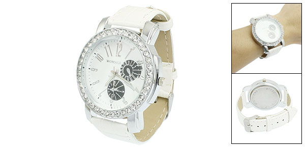 Woman White Faux Leather Watchband Rhinestones Decor Round Case Wristwatch