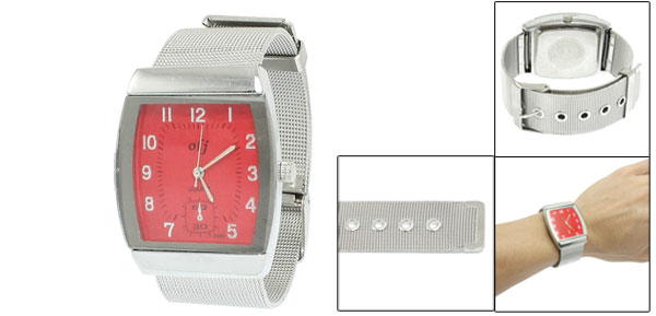 Woman Silver Tone Stainless Steel Watchband Red Square Case Wristwatch