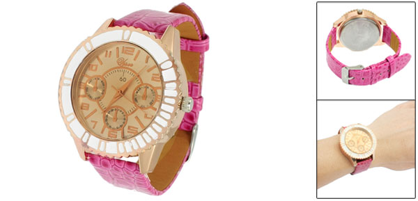 Lady Round Case Magenta Faux Leather Arabic Numerals Display Wristwatch