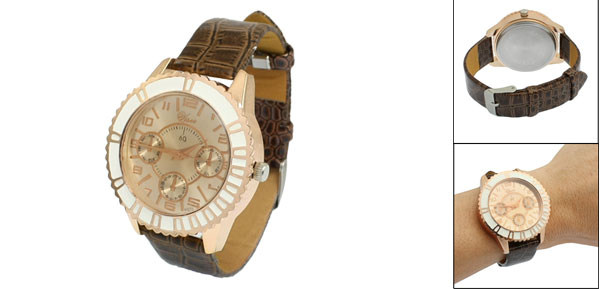 Woman Brown Crocodile Print Faux Leather Watchband Round Case Wristwatch