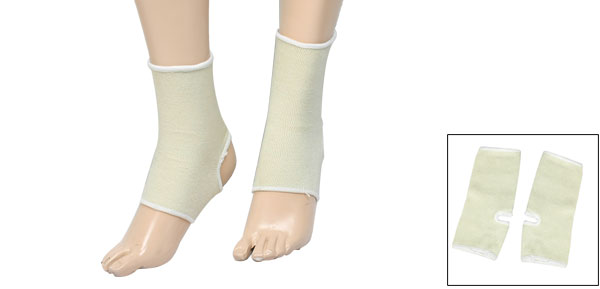 Sports Medicine Elastic Compression Pull On Ankle Support Beige Pair