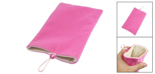 Fuchsia Soft Velvet Vertical Pouch Bag for Mobile Phone MP3 MP4