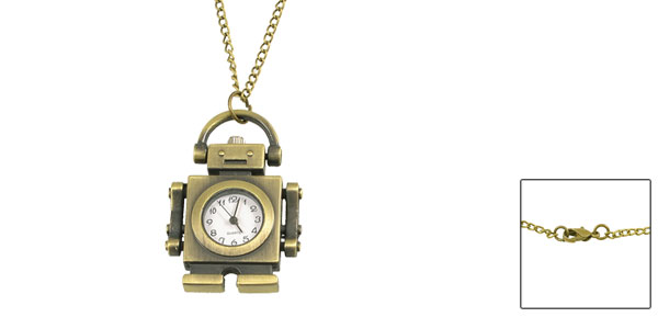 Metal Bronze Tone Robot Shaped Pendant Necklace Watch